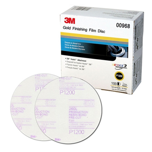 3M Hookit Sanding Discs, 1200 grit, 00968 - 6 inch (box of 100)
