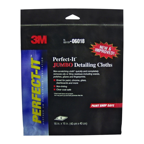 3M Perfect-It Jumbo Microfiber Detailing Cloth, 06018 - 16 x 16 inch (6 pack)