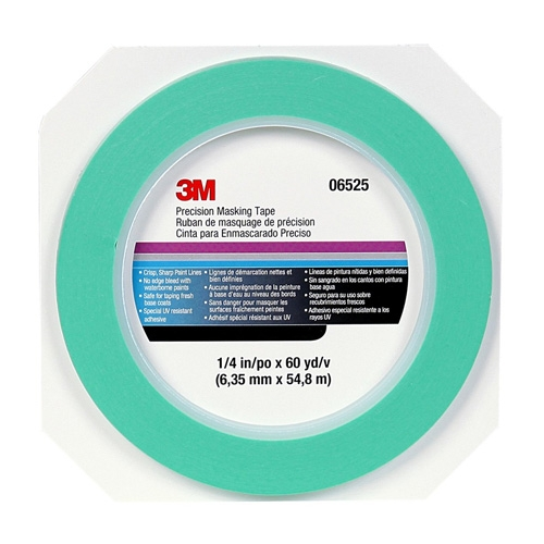 3M Precision Masking Tape, 06525 - 1/4 inch x 60 yds