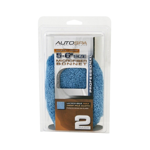 AutoSpa Blue Microfiber Polishing Bonnets for 5-6 inch Orbital Polishers (2 pack)