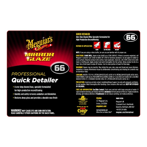 Meguiar's Secondary Label - Quick Detailer #66