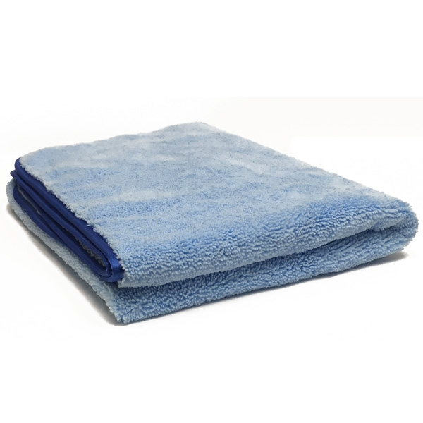 "Super Plush Microfiber Drying Towel, 25"" x 36"", 360 GSM - Light Blue/Blue"