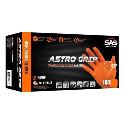 SAS Astro Grip PF Nitrile 6 Mil. Gloves, Orange - Medium