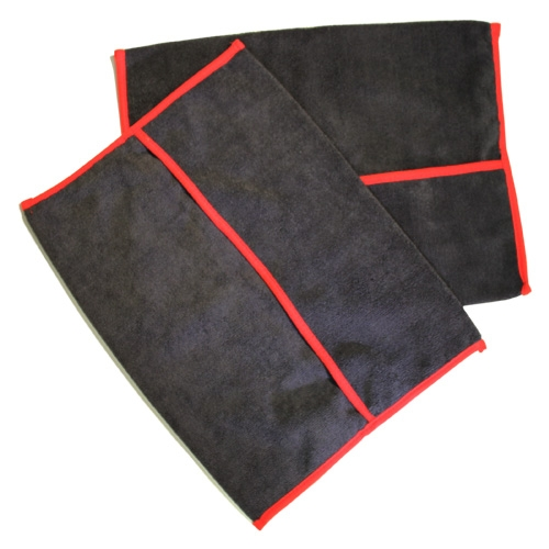 Autofiber Microfiber Pocket Wheel Towels - Black w/ Red Band (2 pack)