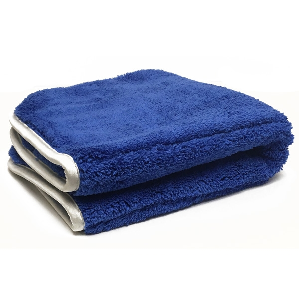 "Ultra Plush Microfiber Towel, 16"" x 16"", 1100 GSM - Blue/Silver"