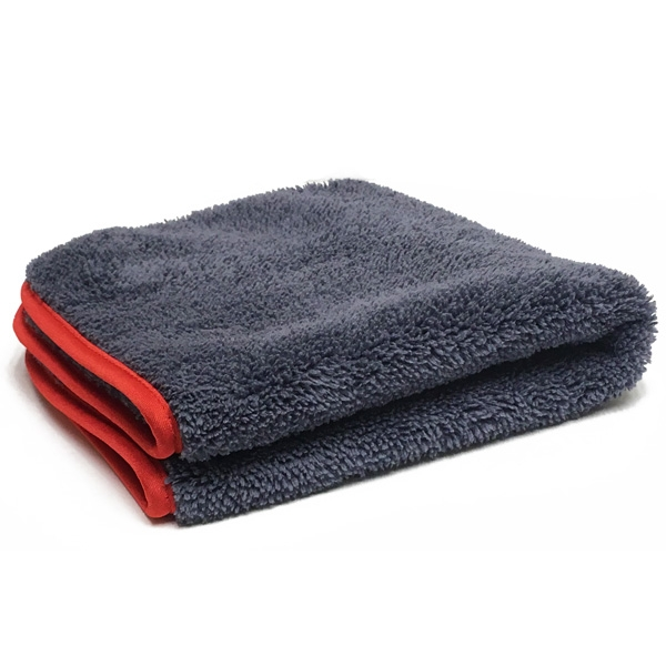 "Ultra Plush Microfiber Towel, 16"" x 16"", 600 GSM - Gray/Red"