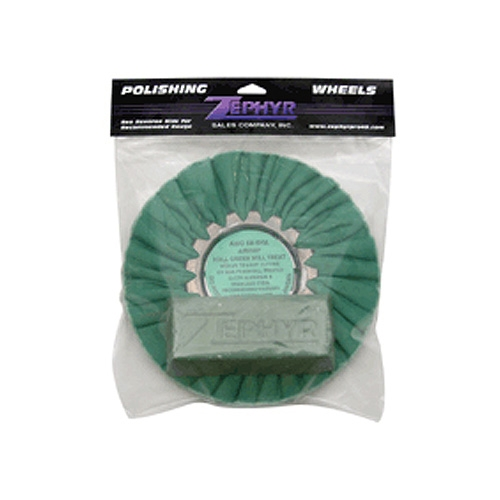 Zephyr Green Airway Buff with 1 lb. Green Rouge Bar (Secondary Cutting) for Aluminum and Stainless Steel