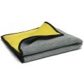 Multi-Purpose Microfiber Towel with Mesh Bug Scrubber, Gray/Yellow - 16 in. x 16 in.