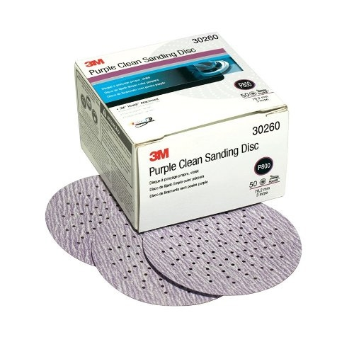 3M Purple Clean Sanding Discs, 800 grit, 30260 - 3 inch (box of 50)