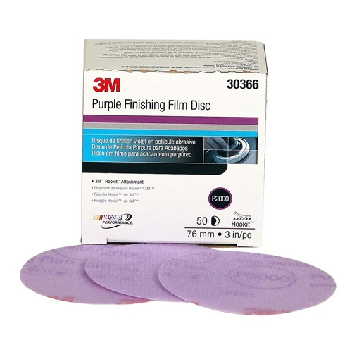 3M Purple Finishing Hookit Sanding Discs, 2000 grit, 30366 - 3 inch (box of 50)