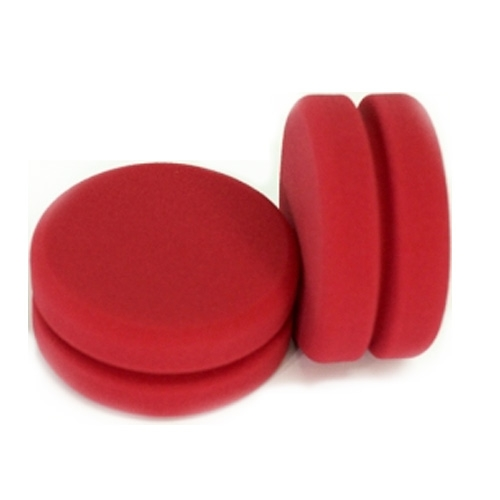 Buff and Shine Red Foam Wax & Sealant Applicator with Notched Center - 4.5 inch (2 pack)