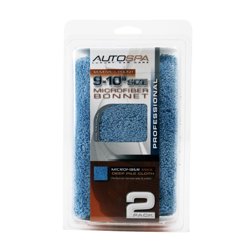 AutoSpa Blue Microfiber Polishing Bonnets for 9-10 inch Orbital Polishers (2 pack)