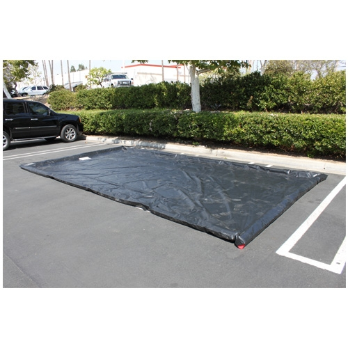 "Husky Water Containment Mat, 10' x 20' x 3"" Berm, Heavy Duty 40 oz. PVC - Black"