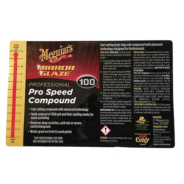 Meguiar's Secondary Label - Pro Speed Compound #100