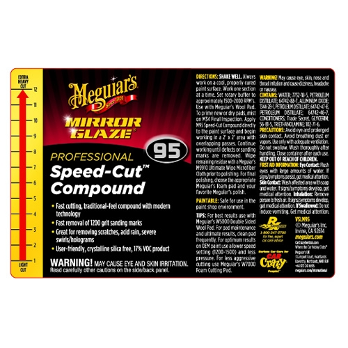 Meguiar S Secondary Label Speed Cut Compound 95