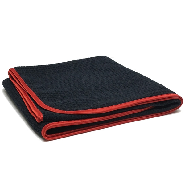 "Waffle Weave 400 Microfiber Drying Towel - Black w/ Red Silk Edges - 25"" x 36"""