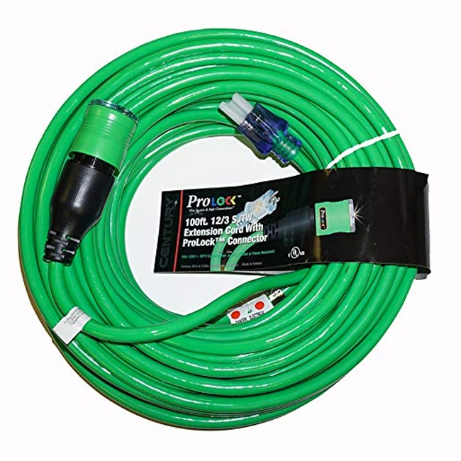 Pro Lock 12/3 SJTW Lighted Extension Cord with CGM, Green - 50 ft.