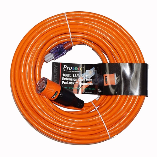 Pro Lock 12/3 SJTW Lighted Extension Cord with CGM, Orange - 50 ft.