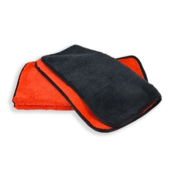 "Duo-Plush 410 Microfiber Towel - Red/Black w/ Black Silk Edges - 16"" x 16"""