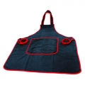 Microfiber Detailing Apron, Large - Black w/ Red Edges