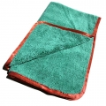 "Dual-Pile 380 Microfiber Towel - Green w/ Red Silk Edges - 16"" x 24"""