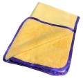 "Dual-Pile 380 Microfiber Towel - Gold w/ Purple Silk Edges - 16"" x 24"""