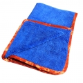 "Dual-Pile 380 Microfiber Towel - Blue w/ Red Silk Edges - 16"" x 24"""