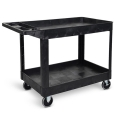 Luxor Two Shelf Heavy Duty Utility Cart - Black