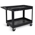 Luxor Two Shelf Heavy Duty Utility Cart - Black