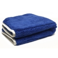 "Duo-Plush 1100 Microfiber Towel - Blue w/ Silver Silk Edges - 16"" x 16"""